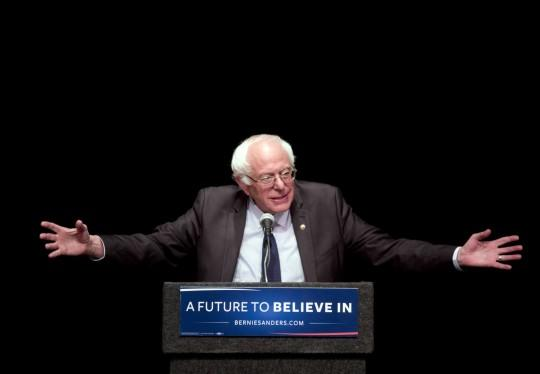 """Democratic presidential candidate Sen. Bernie Sanders delivers his """"Where We Go From Here"""" speech in Albany, N.Y. (Photo: Mike Groll/AP)"""