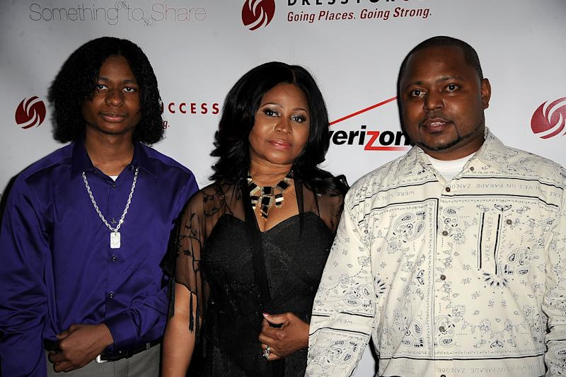 Micaiah Maraj, Carol Maraj and Jelani Maraj attends 2015 Dress For Success Something To Share Gala at Grand Hyatt New York on April 16, 2015 in New York City.
