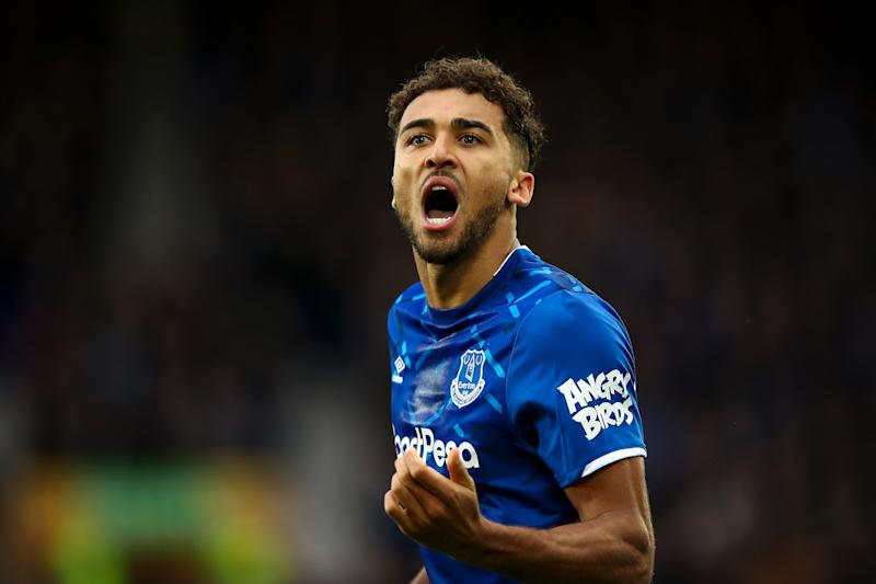 LIVERPOOL, ENGLAND - DECEMBER 07: Dominic Calvert-Lewin of Everton celebrates after scoring a goal to make it 2-0 during the Premier League match between Everton FC and Chelsea FC at Goodison Park on December 7, 2019 in Liverpool, United Kingdom. (Photo by Robbie Jay Barratt - AMA/Getty Images)