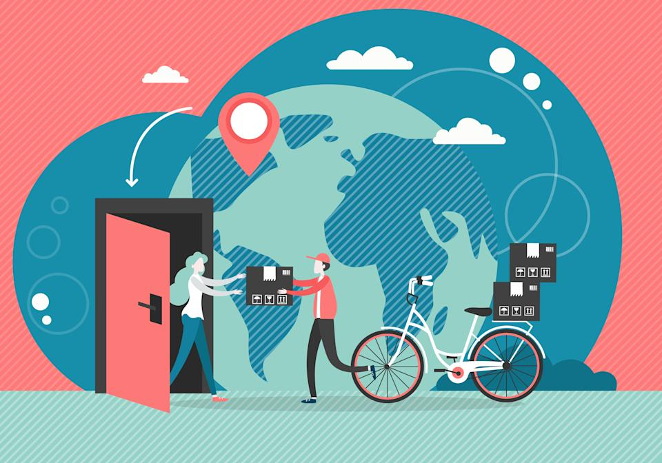 Young man courier delivering parcel to woman door by bicycle, vector flat style design illustration. Bike messenger, home delivery service concept for poster, banner etc.