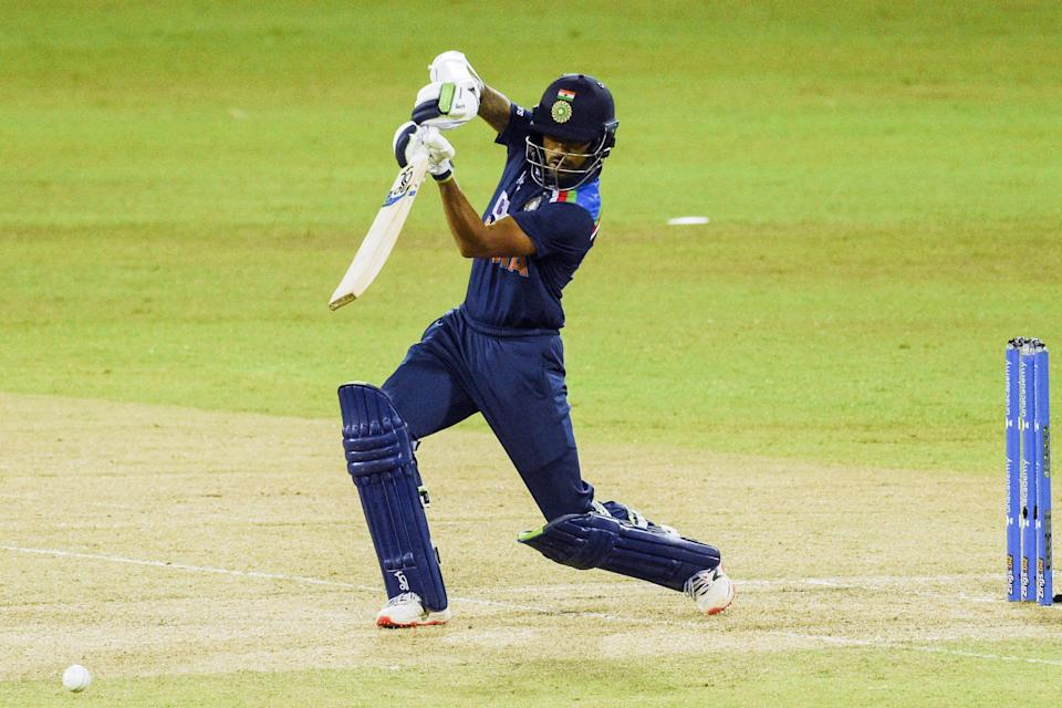 India's captain Shikhar Dhawan plays a shot during the second one-day international (ODI) cricket match between Sri Lanka and India at the R.Premadasa Stadium in Colombo on July 20, 2021. (Photo by ISHARA S.  KODIKARA / AFP) (Photo by ISHARA S.  KODIKARA/AFP via Getty Images)