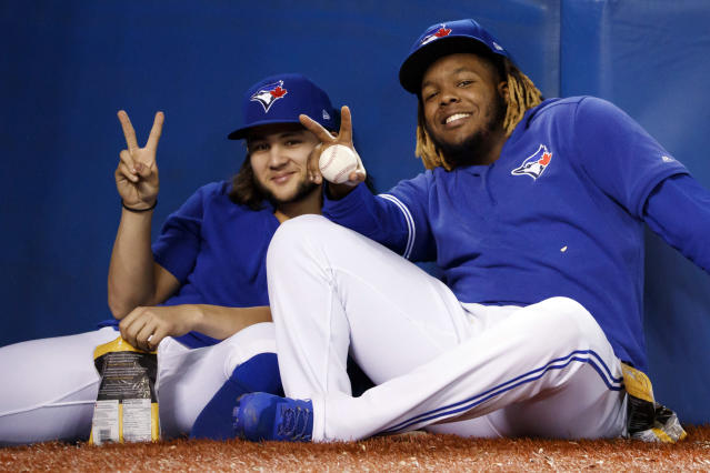 TORONTO, ON - SEPTEMBER 28: How Bo Bichette #11 and Vladimir Guerrero Jr. #27 perform in year two will go a long way in deciding the fate of the 2020 Toronto Blue Jays. (Photo by Cole Burston/Getty Images)
