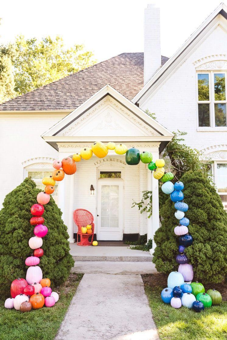 """<p>Fair warning: With a setup like this, you can expect to have constant visitors snapping selfies on your walkway.</p><p><strong>See more at <a href=""""https://thehousethatlarsbuilt.com/2019/10/diy-rainbow-pumpkin-arch.html/"""" rel=""""nofollow noopener"""" target=""""_blank"""" data-ylk=""""slk:The House That Lars Built"""" class=""""link rapid-noclick-resp"""">The House That Lars Built</a>. </strong></p><p><a class=""""link rapid-noclick-resp"""" href=""""https://www.amazon.com/Amosfun-Decorating-Artificial-Thanksgiving-Decoration/dp/B07WTDN4DJ?tag=syn-yahoo-20&ascsubtag=%5Bartid%7C2164.g.36877187%5Bsrc%7Cyahoo-us"""" rel=""""nofollow noopener"""" target=""""_blank"""" data-ylk=""""slk:SHOP STYROFOAM PUMPKINS"""">SHOP STYROFOAM PUMPKINS</a></p>"""