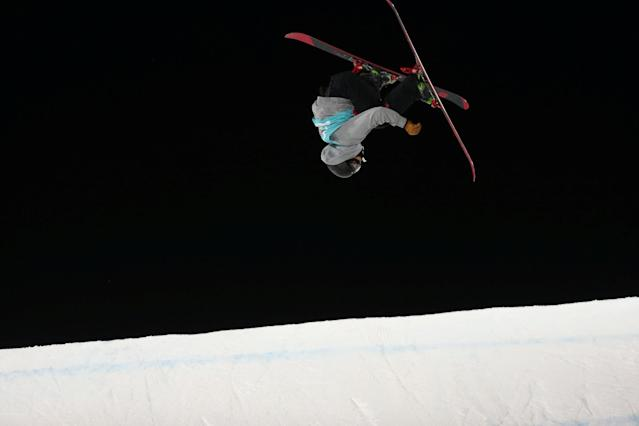 Freestyle Skiing - X Games Men's Big Air Ski finals - Hafjell, Norway - 11/03/17 - Silver medalist Eirik Saeteroy from Norway in action. NTB Scanpix/Geir Olsen/via REUTERS ATTENTION EDITORS - THIS IMAGE WAS PROVIDED BY A THIRD PARTY. FOR EDITORIAL USE ONLY. NORWAY OUT. NO COMMERCIAL OR EDITORIAL SALES IN NORWAY. NO COMMERCIAL SALES.