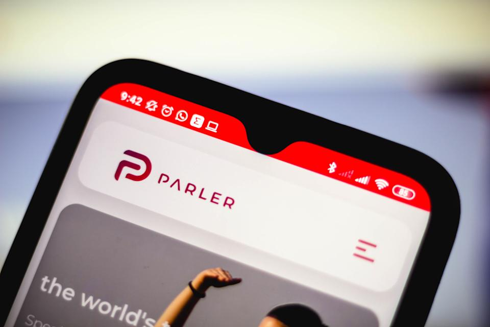 BRAZIL - 2021/01/09: In this photo illustration the Parler logo seen displayed on a smartphone. (Photo Illustration by Rafael Henrique/SOPA Images/LightRocket via Getty Images)