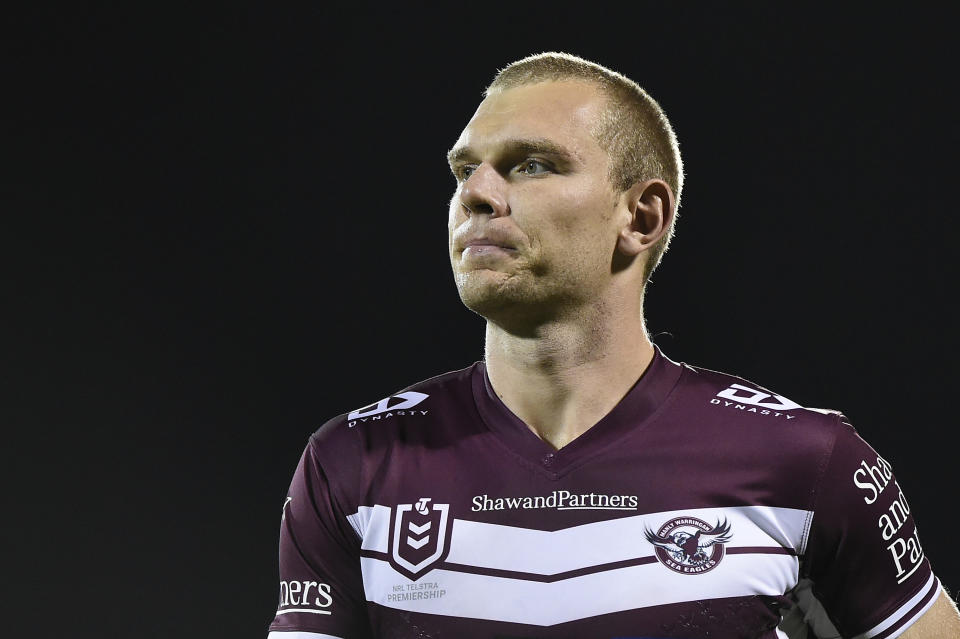 Tom Trbojevic (pictured) looks on ahead of the  NRL Semi-Final match.