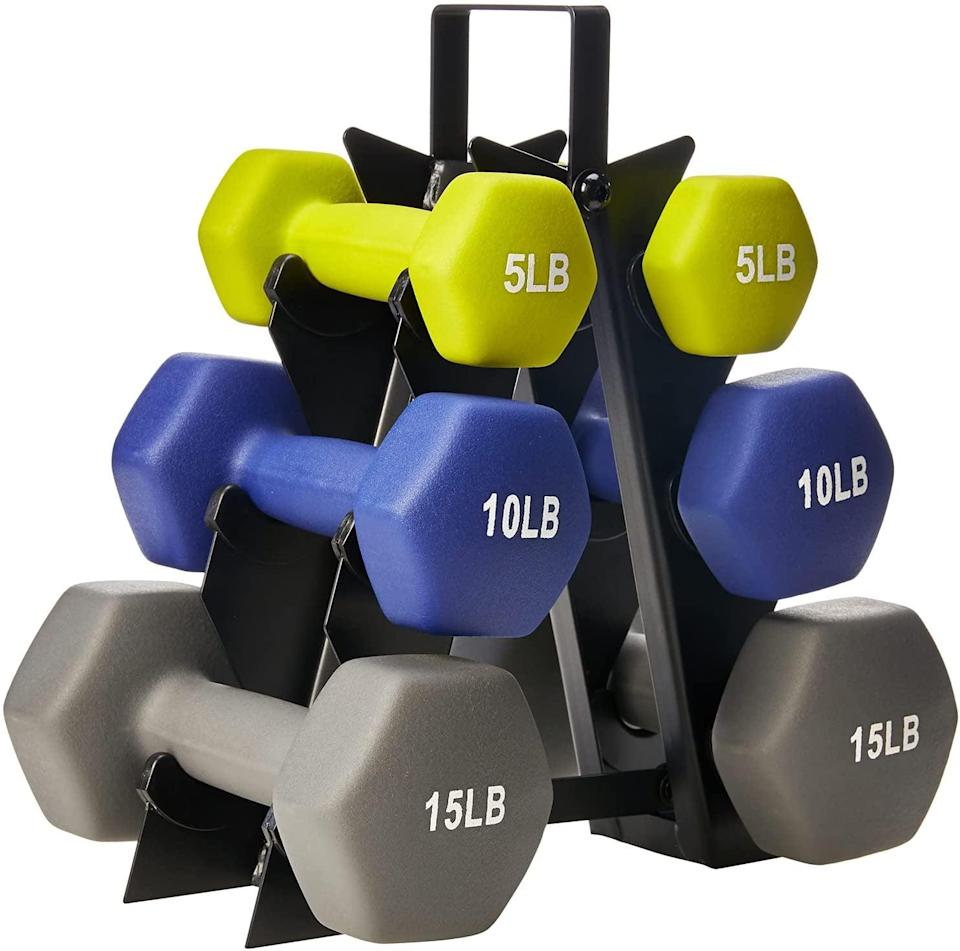 <p>You can't go wrong with a set of weights you can use for upper and lower body workouts. These <span>Amazon Basics Neoprene Workout Dumbbell Hand Weights and Weight Rack</span> ($50) come with a set of three-pound dumbells, five-pound dumbbells and eight-pound dumbbells.</p>