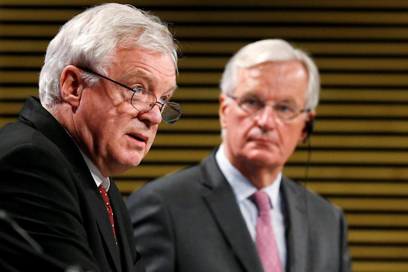 Negotiations: Britain's Secretary of State for Exiting the European Union David Davis and European Union's chief Brexit negotiator Michel Barnier: REUTERS