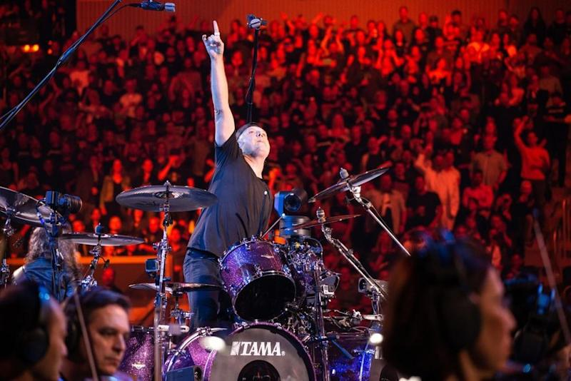 Lars Ulrich during Metallica's 2019 set with the San Francisco Symphony | Brett Murray