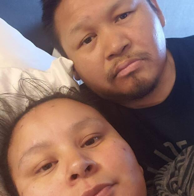 Simeon Poker, seen here with his wife, Ruby, is currently in St. John's waiting on a kidney transplant. His brother, Tommy, will soon begin a 700-kilometre run from Natuashish to Happy-Valley Goose Bay to raise money and awareness for him. (Simeon Ruby Poker/Facebook - image credit)