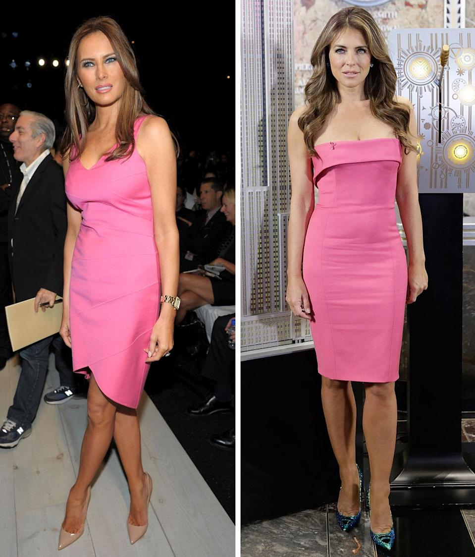<p>Hot pink can sometimes skew juvenile, but Trump and Hurley look totally grown in these rose-colored minis. In this case, though, their styling is very different: Hurley kept things electric with iridescent blue heels and sexpot waves, while Trump was more subdued in nude pumps and straight hair. <i>Photos: Getty</i></p>