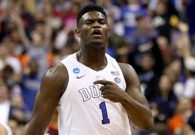 <p>Zion Williamson #1 of the Duke Blue Devils celebrates a basket against the Virginia Tech Hokies during the first half in the East Regional game of the 2019 NCAA Men's Basketball Tournament at Capital One Arena on March 29, 2019 in Washington, DC. (Photo by Patrick Smith/Getty Images) </p>