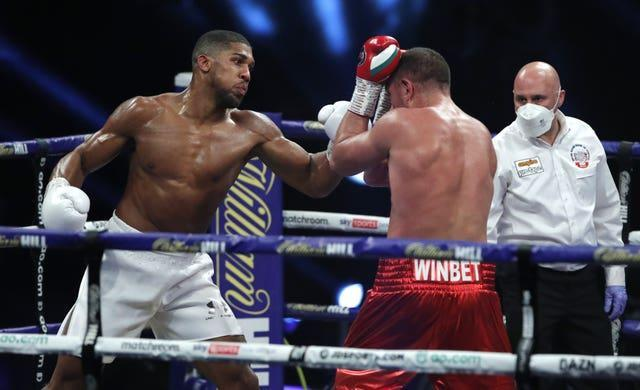 Anthony Joshua, left, defeated Kubrat Pulev in his most recent fight (Andrew Couldridge/PA)