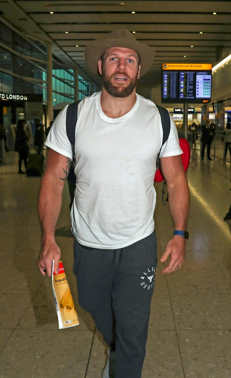 James Haskell strides through Heathrow airport this afternoon (PA)