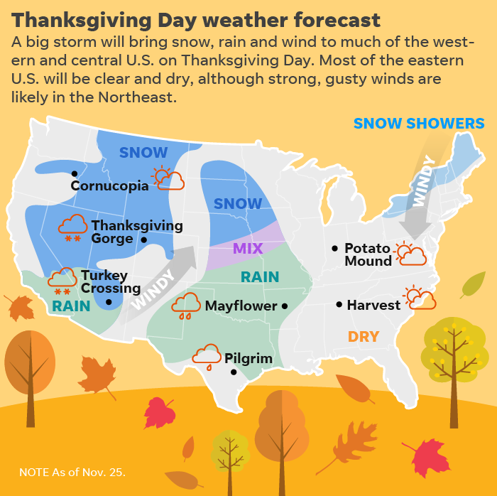 Thanksgiving travel weather forecast: Big storms to create big trouble from coast to coast.