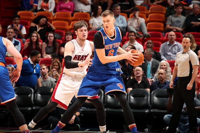 """<a class=""""link rapid-noclick-resp"""" href=""""/nba/players/5464/"""" data-ylk=""""slk:Kristaps Porzingis"""">Kristaps Porzingis</a> had an eventful offseason but is still a member of the Knicks and should be a fantasy force. (Photo by Issac Baldizon/NBAE via Getty Images)"""
