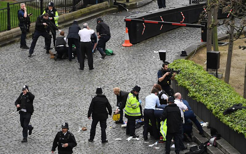 Emergency services at the scene outside the Palace of Westminster - Credit: Stefan Rousseau/PA
