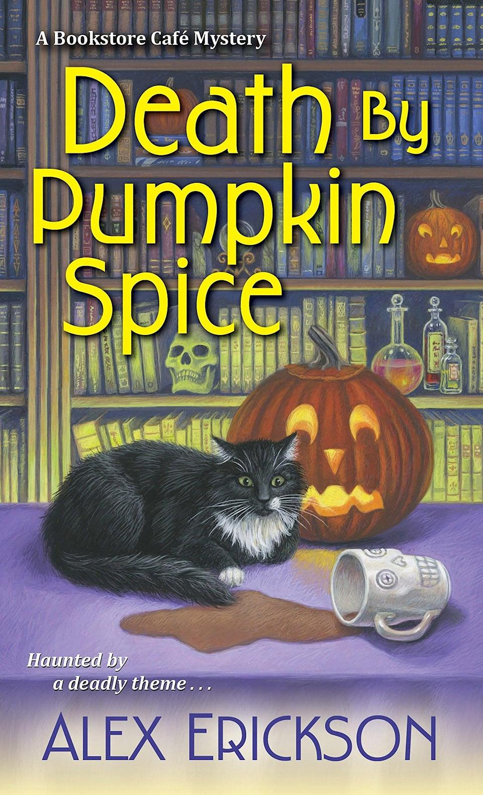 """<p>Love it or hate, pumpkin spice is an unavoidable harbinger of Fall, so it's only fitting that the divisive flavor gets a shout-out in the title of Alex Erickson's <a class=""""link rapid-noclick-resp"""" href=""""https://www.popsugar.com/Halloween"""" rel=""""nofollow noopener"""" target=""""_blank"""" data-ylk=""""slk:Halloween"""">Halloween</a> cozy mystery <span><strong>Death by Pumpkin Spice</strong></span>. Bookstore café owner Krissy Hancock finds herself swept up in a murder mystery when one of the guests at a Halloween costume party ends up dead. Now she has to solve a crime alongside a sexy cop (the horror!) instead of serving up delicious seasonal bake goods at her shop.</p>"""