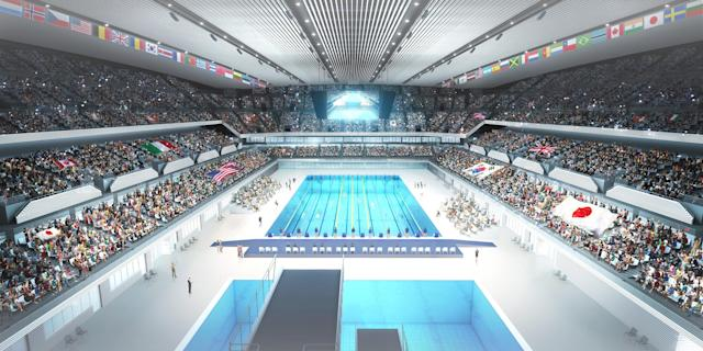<p>Design rendering of Olympic Aquatics Centre (Photo courtesy of Tokyo 2020) </p>