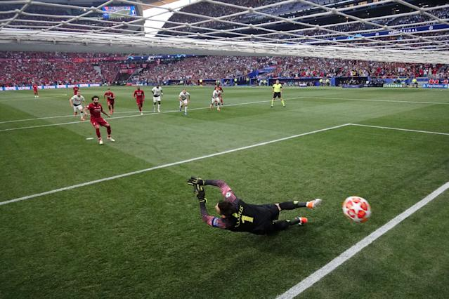 Mohamed Salah's penalty gives Liverpool the lead in Madrid (Photo by Richard Heathcote/Getty Images)
