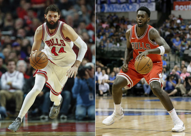 "<a class=""link rapid-noclick-resp"" href=""/nba/players/4905/"" data-ylk=""slk:Nikola Mirotic"">Nikola Mirotic</a> returned to Bulls practice, but isn't speaking to <a class=""link rapid-noclick-resp"" href=""/nba/players/5482/"" data-ylk=""slk:Bobby Portis"">Bobby Portis</a>. (AP)"