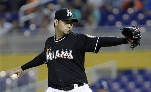 Miami Marlins' Anibal Sanchez pitches during an interleague baseball game against the Toronto Blue Jays in Miami, Friday, June 22, 2012. (AP Photo/Alan Diaz)