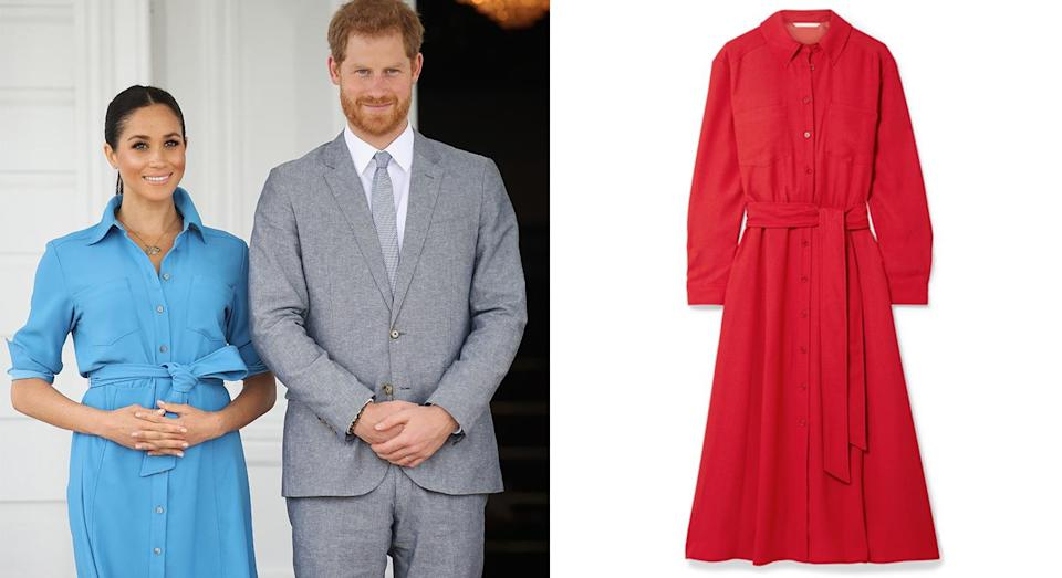 """<p>Meghan Markle opted for a Veronica Beard shirtdress which she wore while departing from Tonga on day 11 of the royal tour. The 'Cary' style belted crepe midi dress favoured by the Duchess is sold out in blue, but you can still buy it in red on the Net-a-Porter site. <a rel=""""nofollow noopener"""" href=""""https://www.net-a-porter.com/us/en/product/1060725/veronica_beard/cary-belted-crepe-midi-dress"""" target=""""_blank"""" data-ylk=""""slk:Shop now."""" class=""""link rapid-noclick-resp"""">Shop now.</a> <i>[Photo: Getty]</i> </p>"""