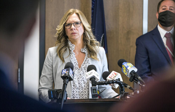 Lancaster County District Attorney Heather Adams briefs the media on the Linda Stoltzfoos case during a news conference at the Lancaster County courthouse, Thursday, April 22, 2021, in Lancaster, Pa. Stoltzfoos was last seen walking home from church in the Bird-in-Hand area on June 21, 2020. Her remains were found in a grave along railroad tracks behind a business where the man charged in her death had worked. (Dan Gleiter/PennLive/The Patriot-News via AP)