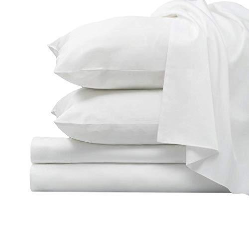1000 Thread Count Luxury White Queen Sheets, 100% Long Staple Combed Cotton Sheets, Smooth Sate…