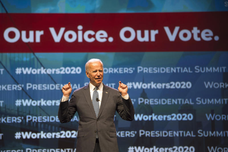 "Democratic presidential candidate former Vice President Joe Biden speaks at the first-ever ""Workers' Presidential Summit"" at the Convention Center in Philadelphia, Tuesday, Sept. 17, 2019. The Philadelphia Council of the AFL-CIO hosted the event. (Tom Gralish/The Philadelphia Inquirer via AP)"
