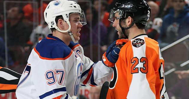 Connor McDavid and Brandon Manning on the same team? Well, this is awkward (AP Photo).