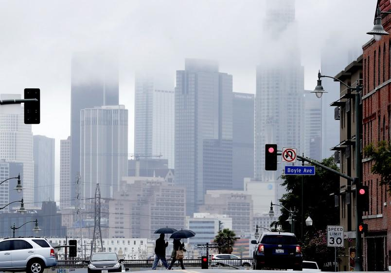 Downtown Los Angeles seen from Boyle Heights on a rainy late-winter day.