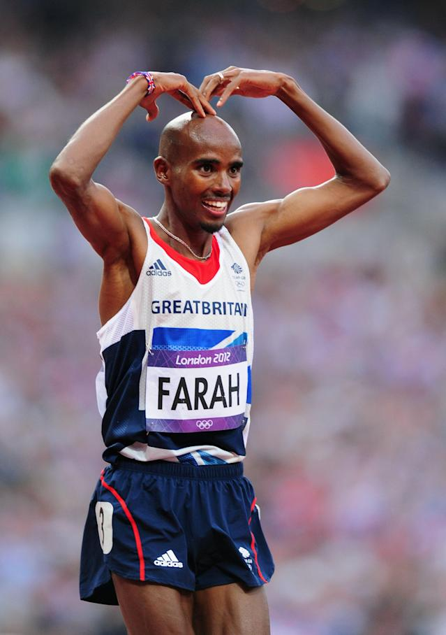 LONDON, ENGLAND - AUGUST 11: Mohamed Farah of Great Britain celebrates winning gold in the Men's 5000m Final on Day 15 of the London 2012 Olympic Games at Olympic Stadium on August 11, 2012 in London, England. (Photo by Mike Hewitt/Getty Images)