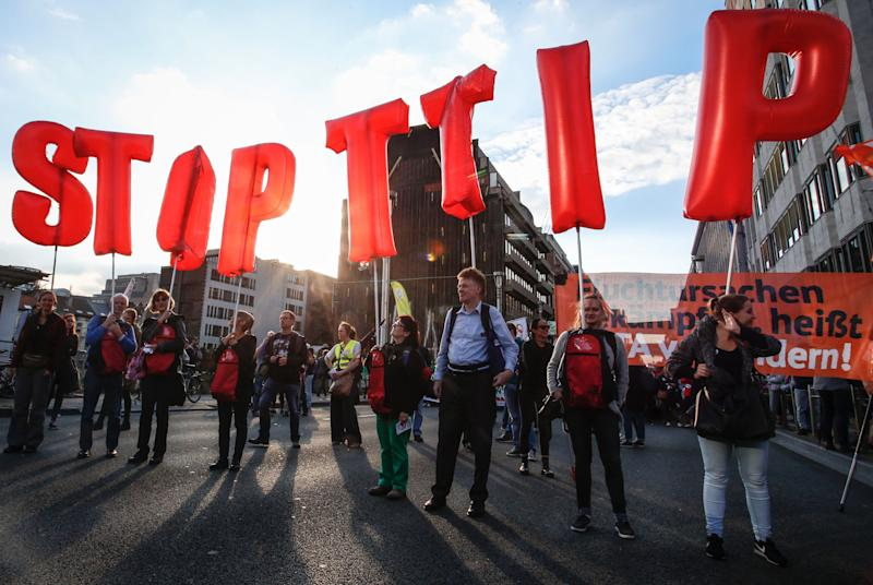 A protest against TTIP in Brussels which helped bring down the deal. (Getty)