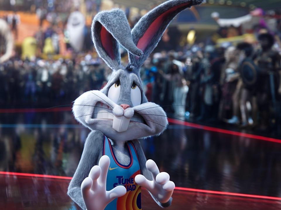 A frightened bugs bunny in space jam: a new legacy