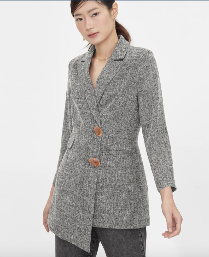 Asymmetrical tweed blazer, S$64. PHOTO: Pomelo