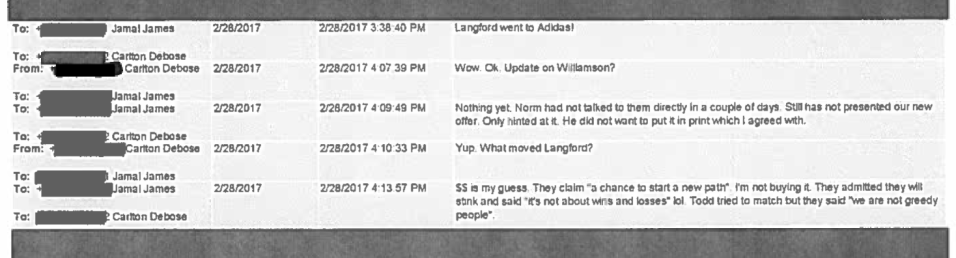 A text message exchange between Nike personnel discussing Romeo Langford and Zion Williamson.