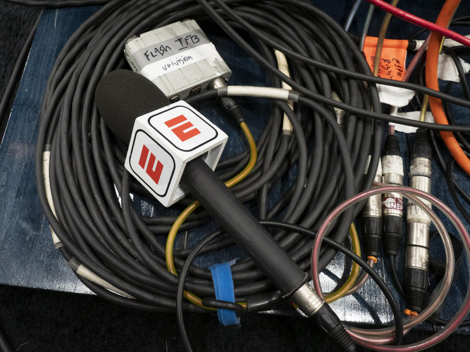PORTLAND, OR - MARCH 31: A view of  a ESPN microphone before the NCAA Division I Women's Championship Elite Eight round basketball game between the Oregon Ducks and Mississippi State Bulldogs on March 31, 2019 at Moda Center in Portland, Oregon. (Photo by Joseph Weiser/Icon Sportswire via Getty Images)
