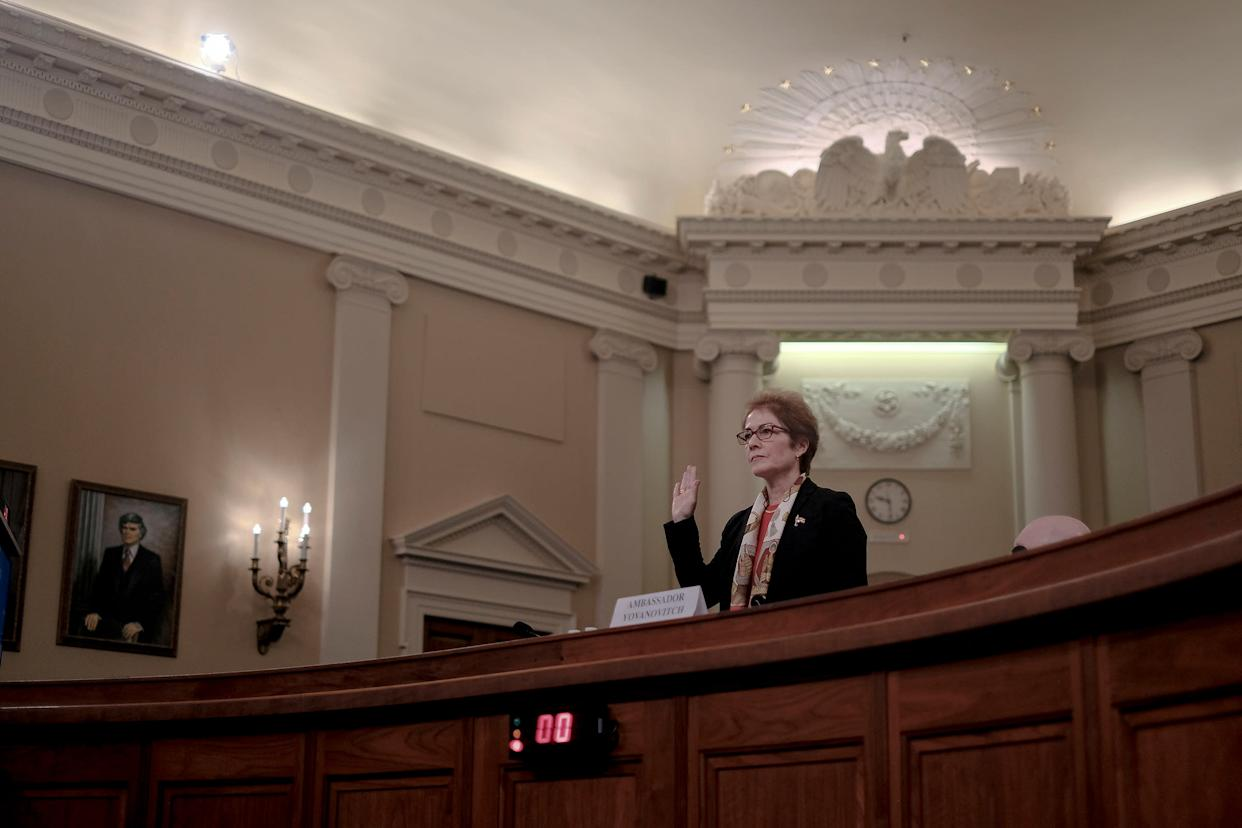 Marie Yovanovitch, the former ambassador to Ukraine, is sworn in during a House Intelligence Committee hearing on the impeachment inquiry in Washington, D.C., on Nov. 15, 2019. | Gabriella Demczuk for TIME