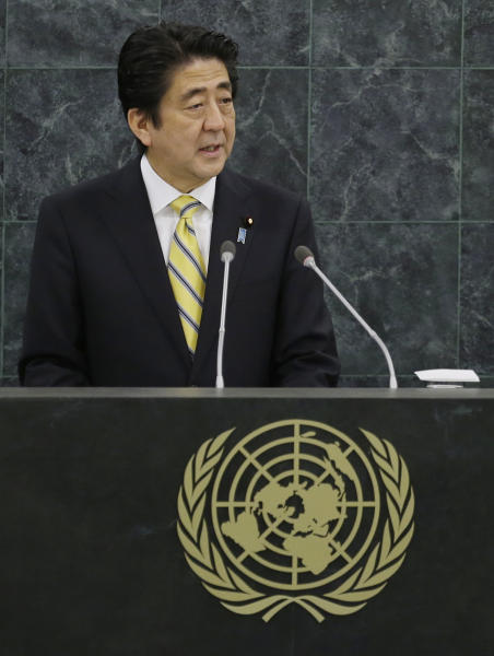 Japan's Prime Minister Shinzo Abe addresses the 68th session of the United Nations General Assembly, Thursday, Sept. 26, 2013 at U.N. headquarters. (AP Photo/Frank Franklin II)