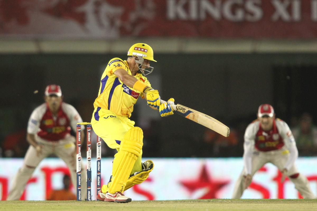 Michael Hussey of Chennai Super Kings cuts a delivery square during match 11 of of the Pepsi Indian Premier League between The Kings XI Punjab and the Chennai Superkings held at the PCA Stadium, Mohal, India  on the 10th April 2013..Photo by Shaun Roy-IPL-SPORTZPICS  ..Use of this image is subject to the terms and conditions as outlined by the BCCI. These terms can be found by following this link:..https://ec.yimg.com/ec?url=http%3a%2f%2fwww.sportzpics.co.za%2fimage%2fI0000SoRagM2cIEc&t=1490250709&sig=EUJSm47o5Ng6ByONg22s4Q--~C