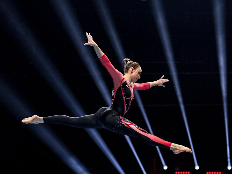 Sarah Voss at the European Artistic Gymnastics Championships in April (AFP via Getty Images)