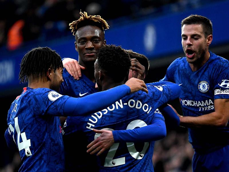 Chelsea celebrate after scoring against Burnley: PA