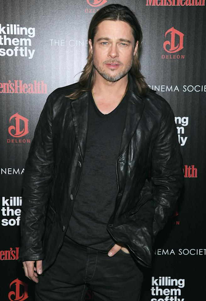 """NEW YORK, NY - NOVEMBER 26:  Actor Brad Pitt attends The Cinema Society with Men's Health and DeLeon hosted screening of The Weinstein Company's """"Killing Them Softly"""" on November 26, 2012 in New York City.  (Photo by Dimitrios Kambouris/WireImage)"""