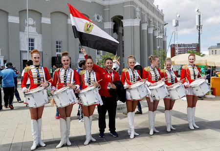 FILE PHOTO: Ekaterinburg Arena, Yekaterinburg, Russia - June 15, 2018   Egypt fan with a band outside the stadium before the match   REUTERS/Darren Staples/File Photo