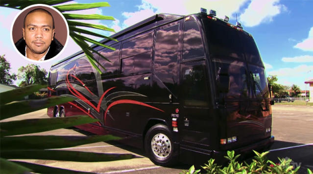 "<p>Timbaland's motor home is something out of MTV's <i>Cribs</i>. The producer showcased his ""beloved home"" on HGTV. The 48-foot party machine is designed to look like a nightclub. Naturally, there's a studio too. (Photo: <a href=""http://www.hgtv.com/videos/timbalands-motor-home-0199722"" rel=""nofollow noopener"" target=""_blank"" data-ylk=""slk:HGTV via YouTube"" class=""link rapid-noclick-resp"">HGTV via YouTube</a>) </p>"