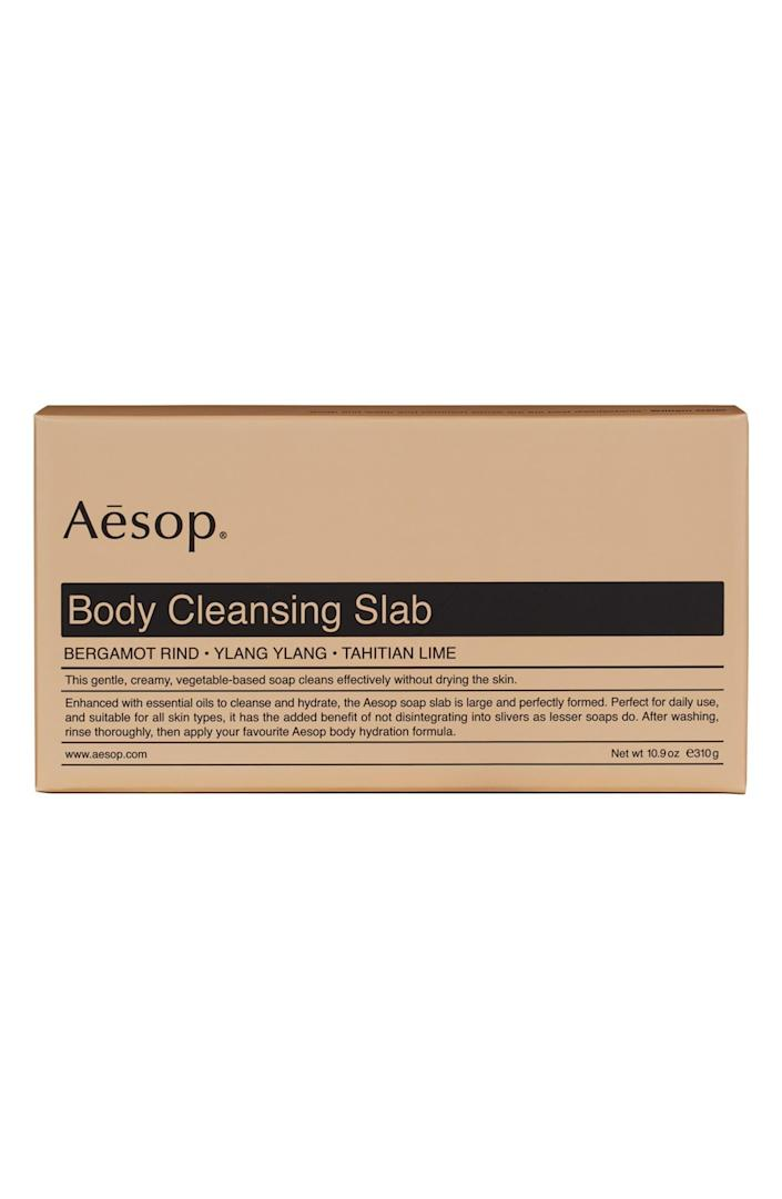 """<h2>Aesop Body Cleansing Slab</h2><br>You thought that <em>you</em> were a product junkie until you met this guy. He gives you a run for your money when it comes to knowing about — and, uh, spending money on — all the latest in natural deodorant, exfoliating scrubs, and beard oils. Aesop is his Achilles heel, so why not surprise him with a manly SLAB of soap for Father's Day?<br><br><em>Shop <strong><a href=""""https://www.nordstrom.com/brands/aesop--13490"""" rel=""""nofollow noopener"""" target=""""_blank"""" data-ylk=""""slk:Aesop"""" class=""""link rapid-noclick-resp"""">Aesop</a></strong></em><br><br><strong>Aesop</strong> Body Cleansing Slab, $, available at <a href=""""https://go.skimresources.com/?id=30283X879131&url=https%3A%2F%2Fshop.nordstrom.com%2Fs%2Faesop-body-cleansing-slab%2F4364313%2Ffull"""" rel=""""nofollow noopener"""" target=""""_blank"""" data-ylk=""""slk:Nordstrom"""" class=""""link rapid-noclick-resp"""">Nordstrom</a>"""