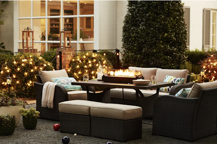 """Made of steel and fire glass, this rectangular fire pit looks sleek whether or not it's lit. Lava rocks are not included, but you can buy them in any color to suit your space's color palette. $139, Lowe's. <a href=""""https://www.lowes.com/pd/Bond-7-in-W-40000-BTU-Black-Portable-Tabletop-Steel-Firebowl/1000175617"""" rel=""""nofollow noopener"""" target=""""_blank"""" data-ylk=""""slk:Get it now!"""" class=""""link rapid-noclick-resp"""">Get it now!</a>"""