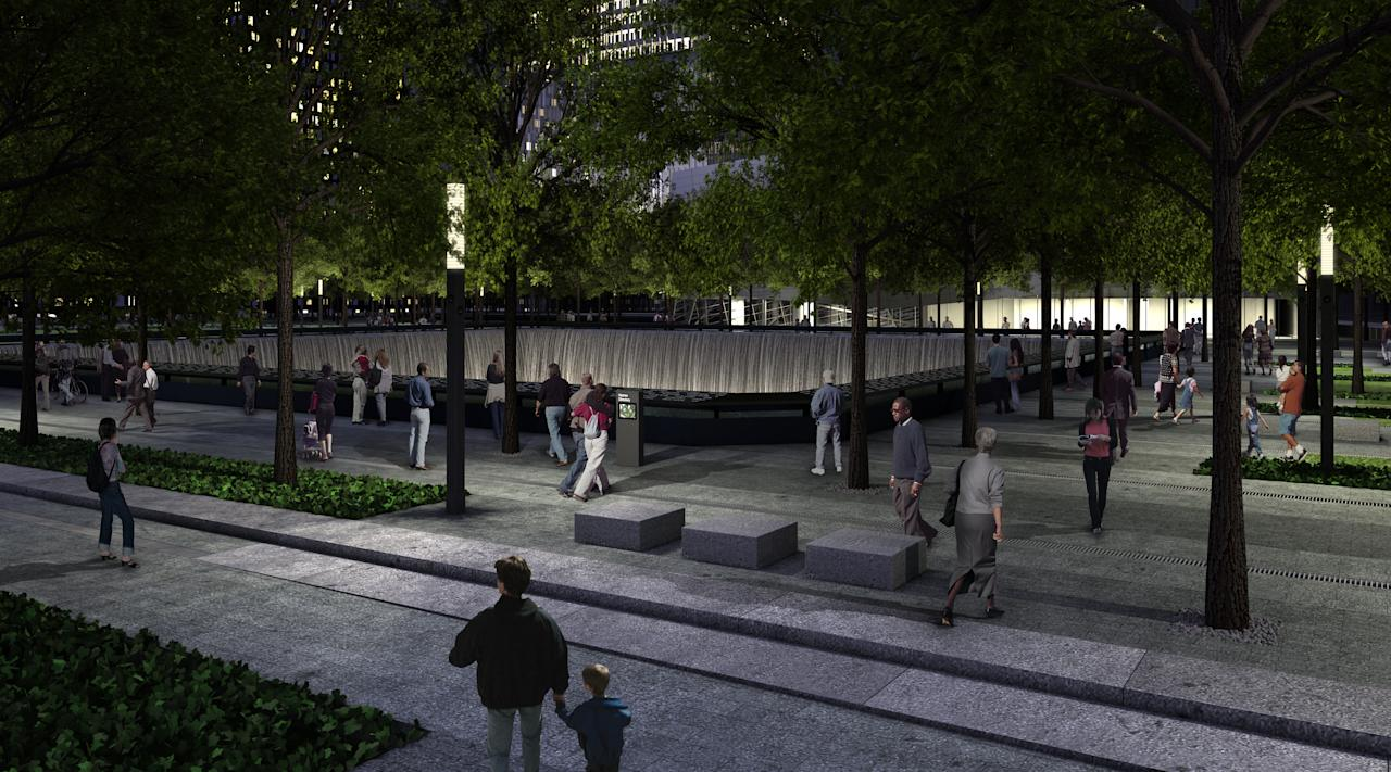 A rendering of the Memorial pool at night. Squared Design Lab