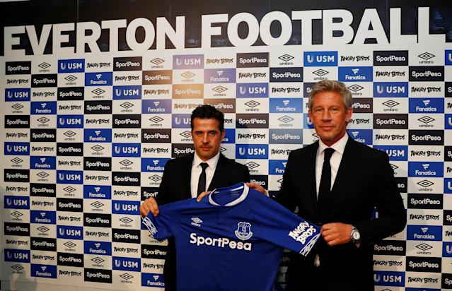 Soccer Football - England - Premier League - Everton - Marco Silva Press Conference - Finch Farm, Liverpool, Britain - June 4, 2018 Everton manager Marco Silva and Everton Director of Football Marcel Brands REUTERS/Jason Cairnduff